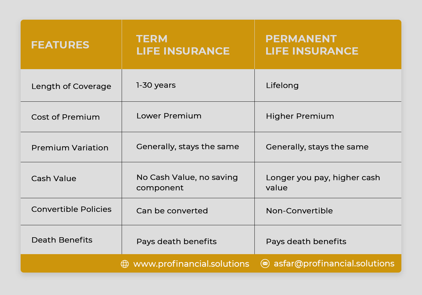 Key Features of Term Insurance & Permanent Insurance